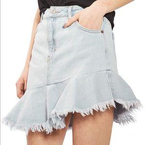 TOPSHOP  Moto Asymmetrical Hem Denim Skirt Sz: 8